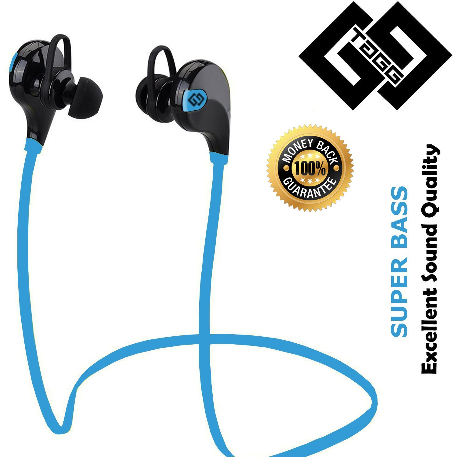 Tagg T 07 Wireless Sports Bluetooth Headset Electronics Hp In Ear H2310 Navy Blue