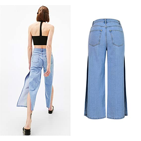22e24070cde8 Coumll Summer Denim Wide Leg Pants High Waist Loose Trousers Calf-Length  Jeans Pants at Amazon Women s Clothing store