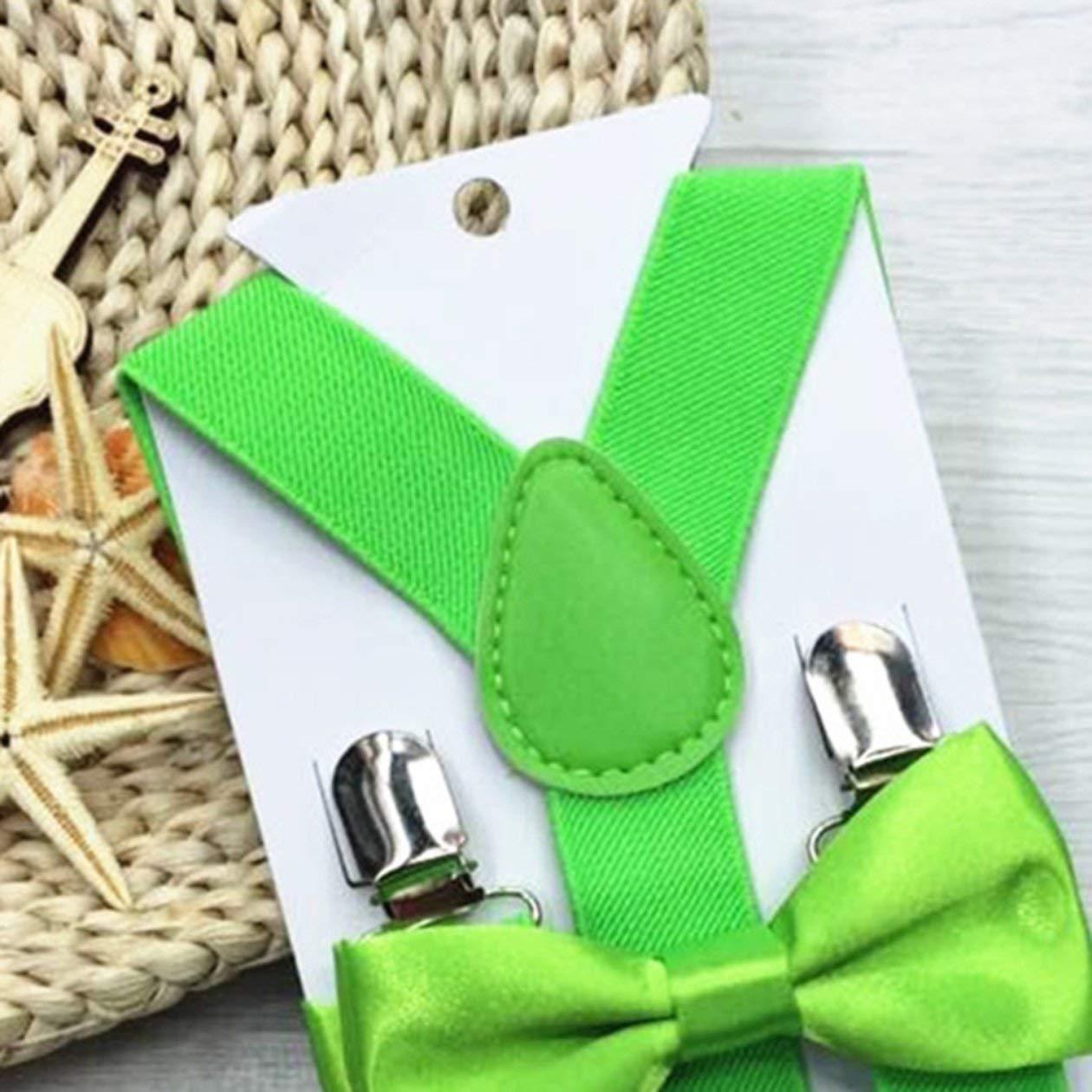 Colore: Nero Regolabile ed elastico con clip in metallo Poliestere per bambini Design Bretelle e Papillon Farfallino Set cravatte abbinate Abiti