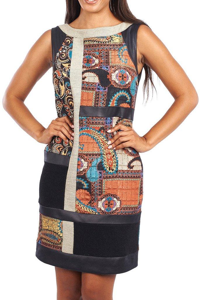 Joseph Ribkoff Black & Paisley Print Sleevelss Shift Dress Style 163685 - Size 16