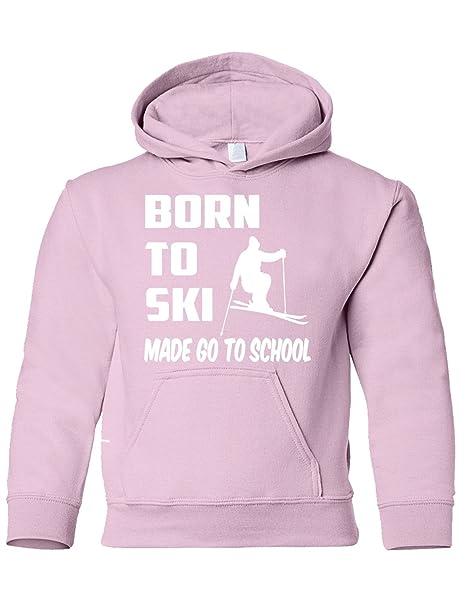 Born To de esquí Fabricado IR a la Escuela Esquí Boys/Niñas/Kids Sudaderas con Capucha Edad 5 - 13 Rosa Rosa: Amazon.es: Ropa y accesorios