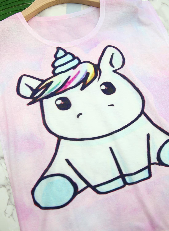 Futurino Women's Summer Colorful Bow Tie Unicorn Print Short Sleeve T-Shirt Tops (XL, Baby Unicorn) by Futurino (Image #3)