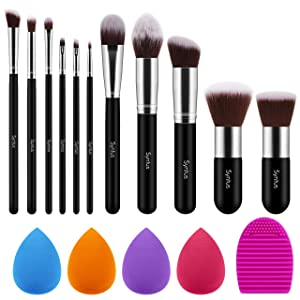 Syntus Makeup Brush Set, 11 Makeup Brushes & 4 Blender Sponges & 1 Brush Cleaner Premium Synthetic Foundation Powder Kabuki Blush Concealer Eye Shadow Makeup Brush Kit, Black Silver