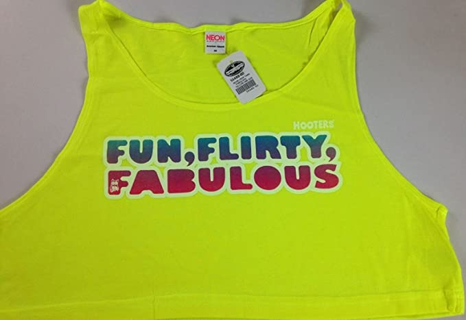 8ffb23e3c4007 Image Unavailable. Image not available for. Colour  Hooters Tank Top Crop  Belly Shirt Sexy Big Boobs Fun Flirty Fabulous ...