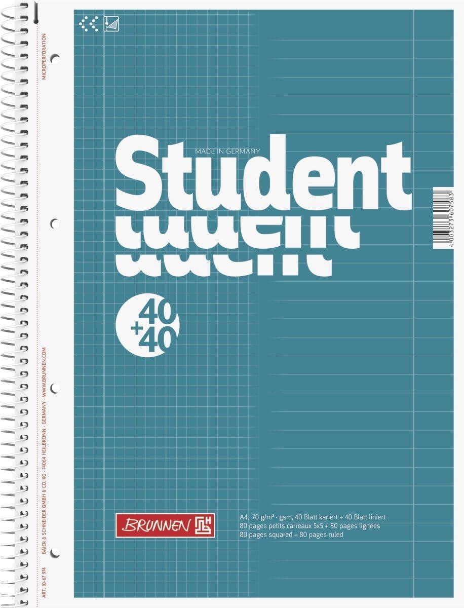 4 fori A4 Quaderno con dorso spiralato fogli a quadretti 80 70 g//mq Baier /& Schneider