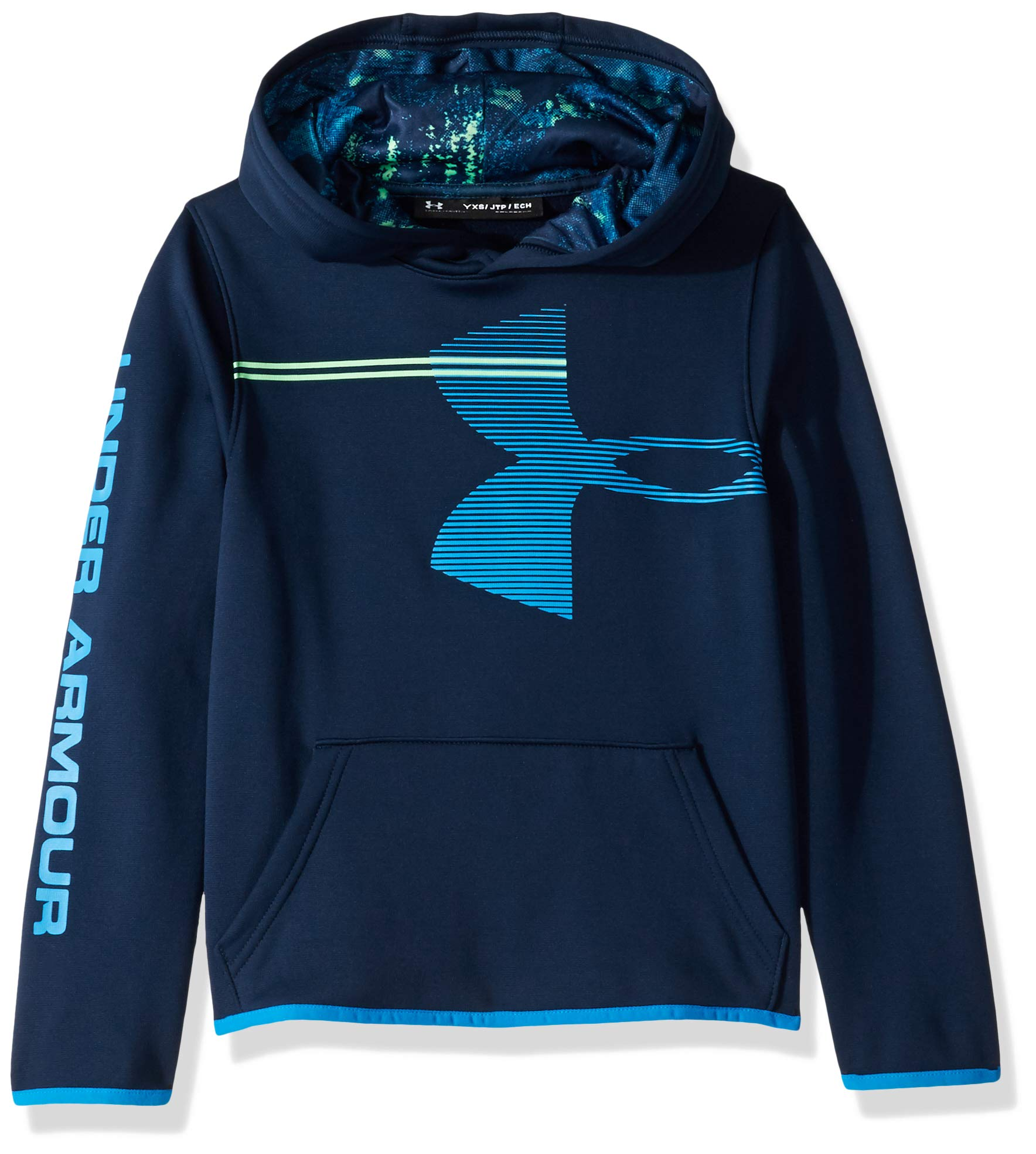 Under Armour Boys' Armour Fleece Hoodie, Academy (408)/Blue Circuit, Youth X-Large by Under Armour