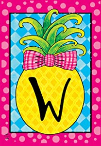 "Briarwood Lane Pineapple Monogram Letter W Garden Flag Everyday 12.5"" x 18"""