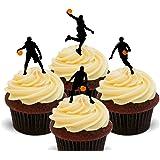 basket-ball silhouettes–comestible pour cupcakes–montant comestible gâteau Décorations, Pack of 12