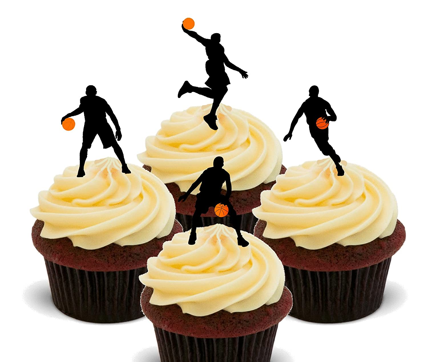 Basketball Silhouettes - Edible Cupcake Toppers - Stand-up Wafer ...