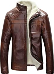 Mens Leather Amp Faux Leather Jackets Amp Coats Amazon Ca