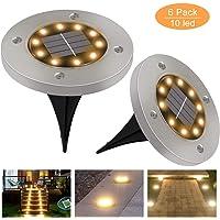 Luces Solares Exterior GolWof 6 Pack 10 LEDs Luces Solar de Tierra IP65 Impermeable Acero Inoxidable Luce de Tierra…