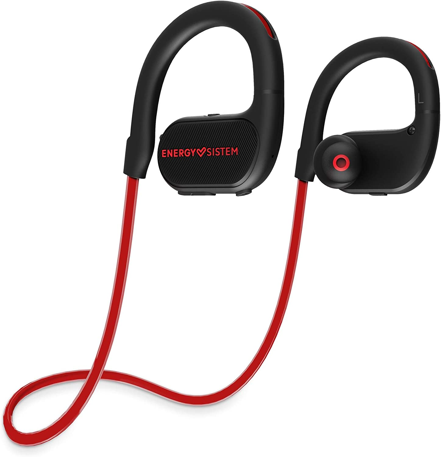 Energy Sistem Auriculares Bluetooth BT Running 2 (Neon LED, IPX4, Secure-Fit, Extended Battery) Rojo