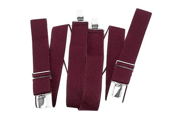 Bretelles homme INTARSI bordeaux larges 3,5 cm couleur unie avec clips ae6b1d99a1ea