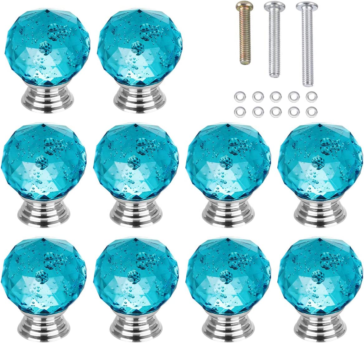 HOMEIDEAS 10PCS 30MM Round Blue Bubbles Crystal Drawer Knobs Glass Cabinet Knobs Drawer Pulls Handle for Home, Cabinet, Cupboard and Dresser, 3 Size Screws