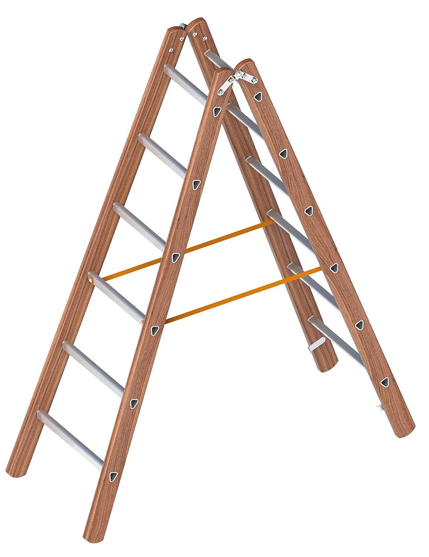 klappbar Layher 1028006 Verbundstehleiter 6 Holz-Aluminium-Stehleiter 2x6 Sprossen beidseitig begehbar L/änge 1.80 m
