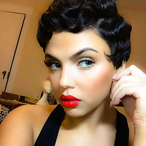 Ctrlalt Finger Wave Wig Short Black Curly Synthetic Hair Janet Collection Nuna Wigs For Women Amazon Ca Beauty