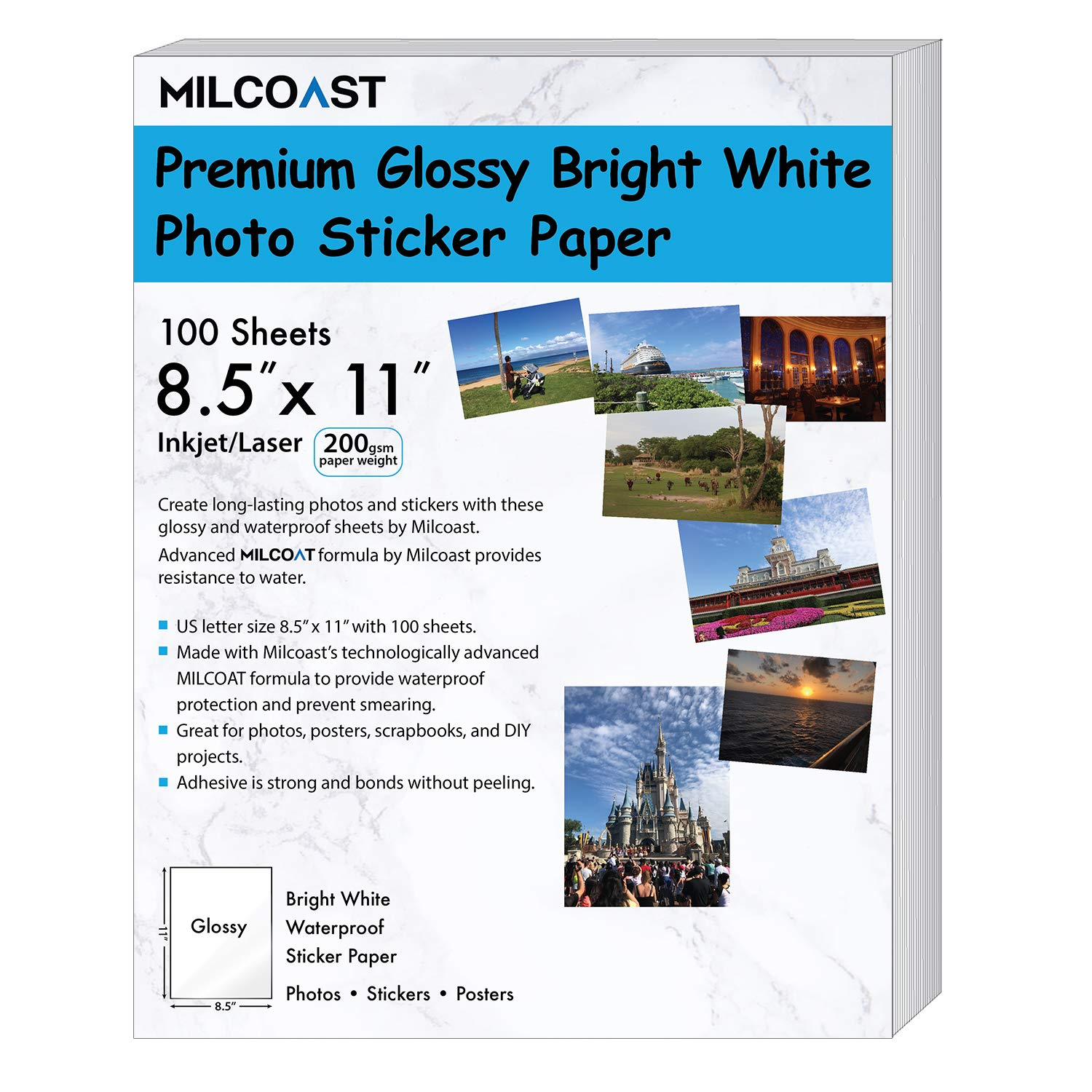 Milcoast Glossy Full Sheet 8.5'' x 11'' Waterproof Adhesive Bright White Photo Paper - 200 GSM Weight, Inkjet/Laser Printer Compatible - 100 Sheets