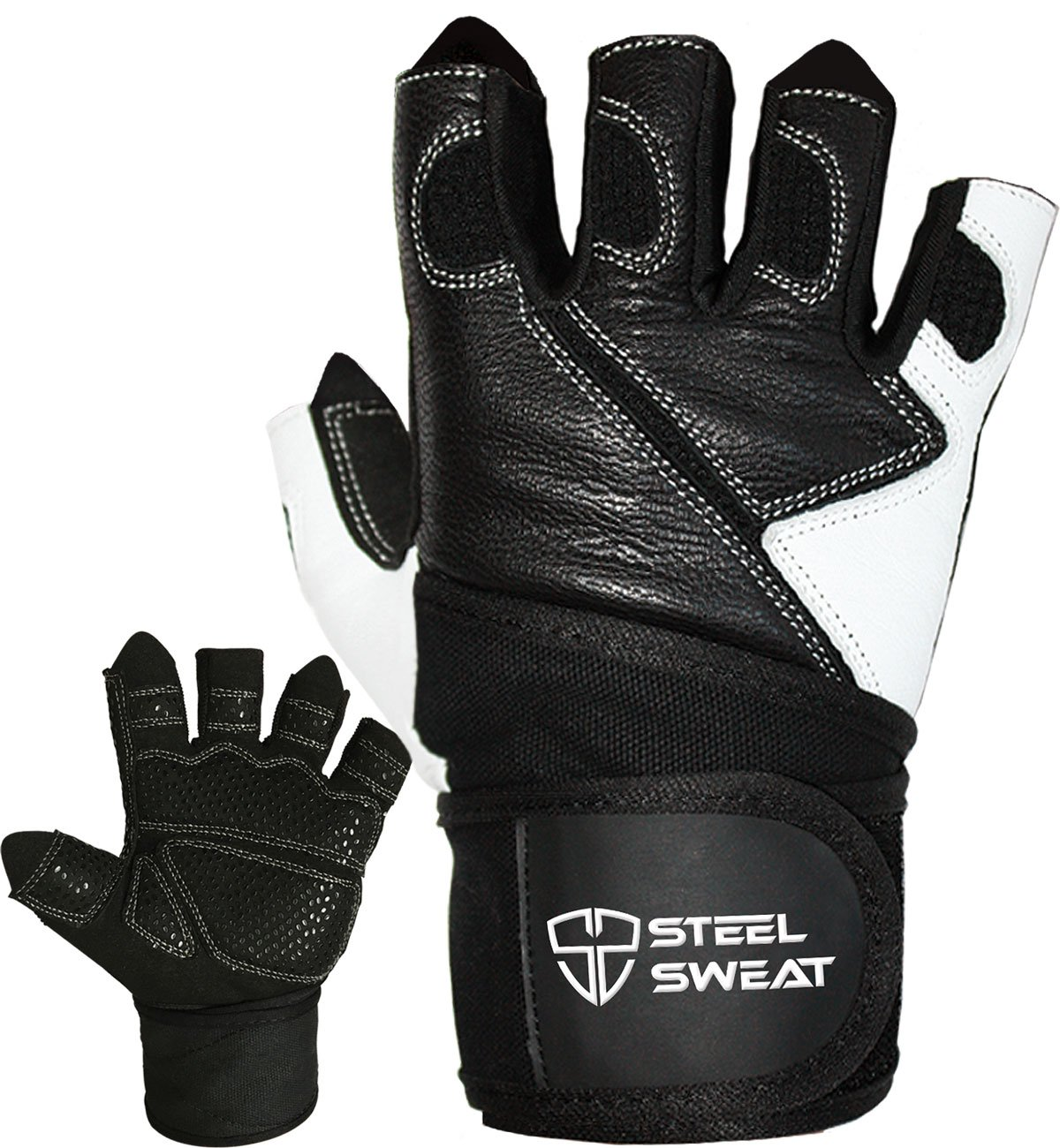 Steel Sweat Workout Gloves with over 18-inch Wrist Wrap Support