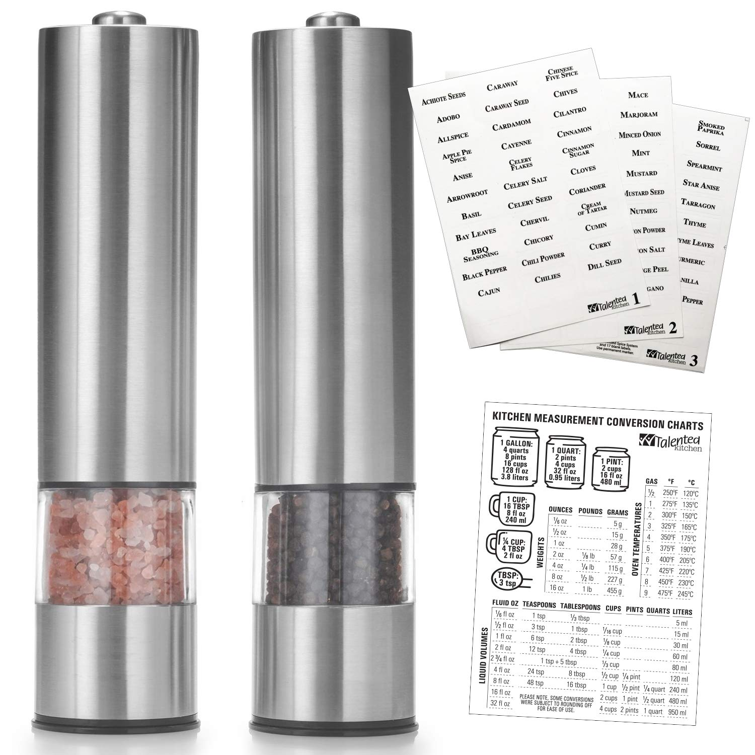 Set of 2 salt pepper mill electric grinders measuring kitchen chart spice label set by talented kitchen heavy duty brushed stainless steel spices
