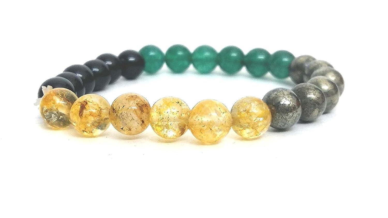 シトリン、黄鉄鉱、グリーン&ブラックオニキスストーンストレッチブレスレット( 8 mm )   B078HLTYR8
