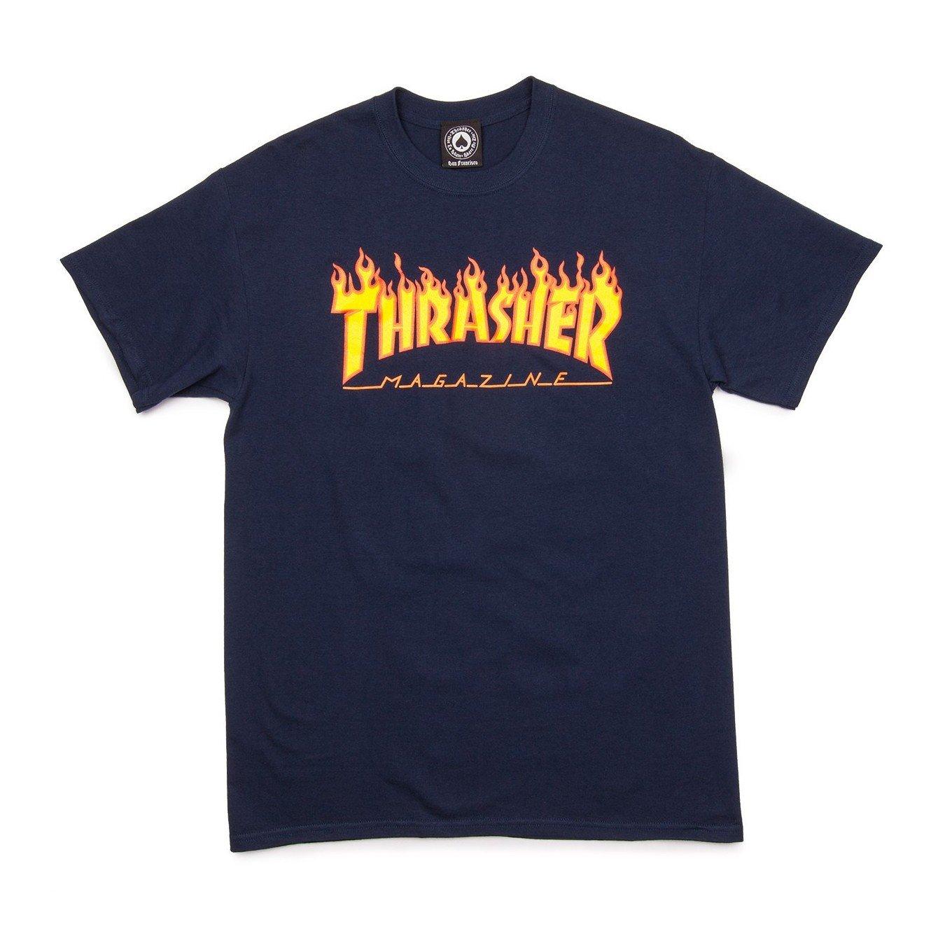 Thrasher Flame T-Shirt (Medium, Navy) by Thrasher (Image #1)