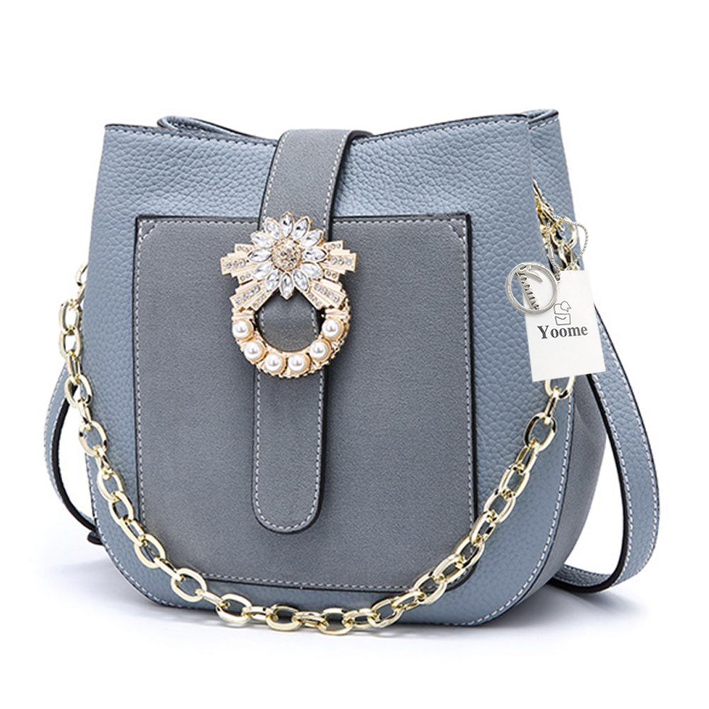 Yoome Retro Bucket Bag Matte Leather Crossbody Shoulder Bag with Chain Strap & Rhinestone and Pearl Hasp - Blue Grey
