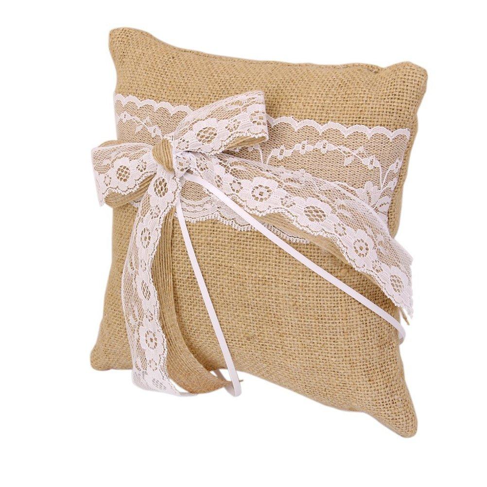 . marrone WINOMO cuscino per anelli nuziali in iuta 20/x 20/cm