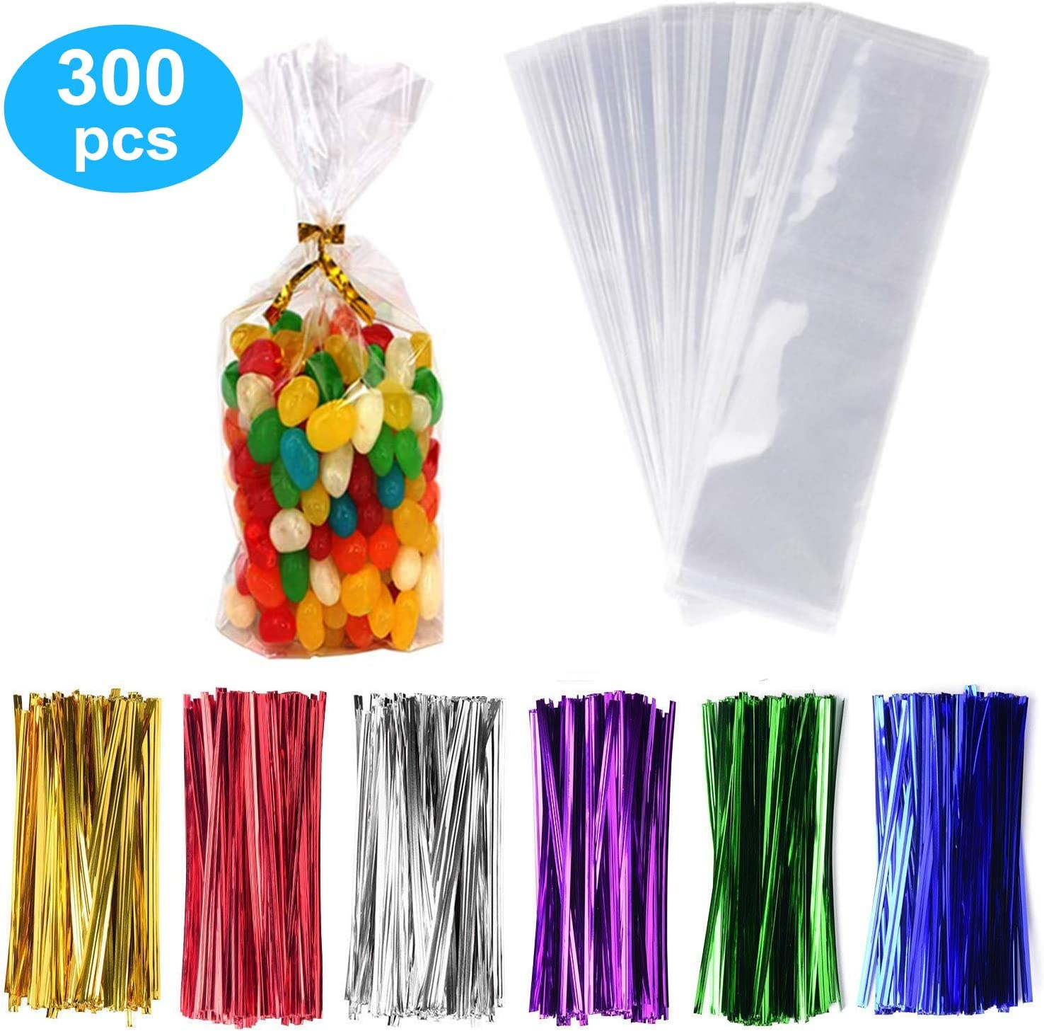 """300 Pack Clear Candy Bags Clear Cellophane Bags 3""""x11"""" Cookie Bags With 3.1"""" Twist Ties 6 Mix Colors - 1.4mils Thickness OPP Plastic Bags for Wedding Birthday Cake Pops Gift Supplies(3""""x11"""")"""