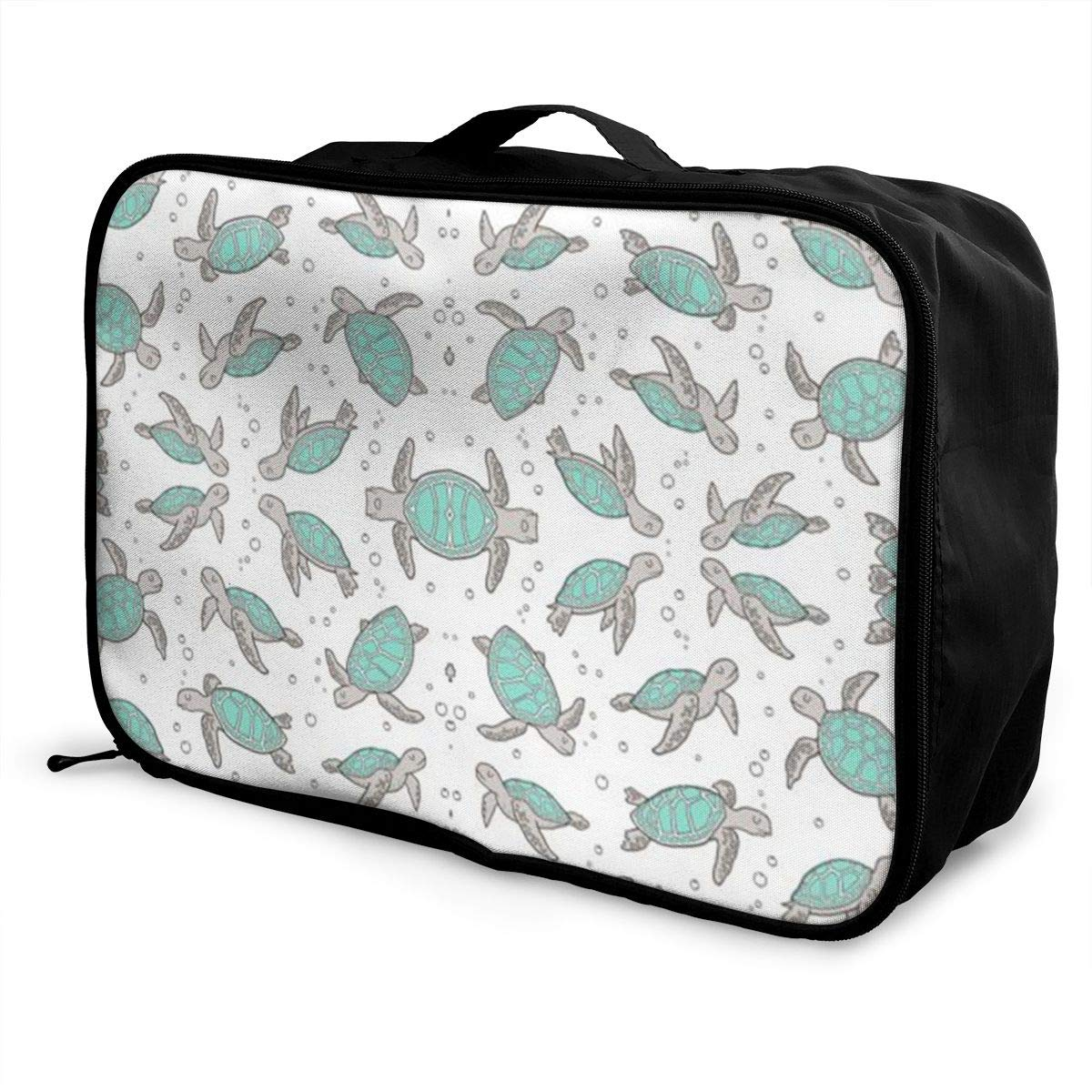 ADGAI Green Leaves Canvas Travel Weekender Bag,Fashion Custom Lightweight Large Capacity Portable Luggage Bag,Suitcase Trolley Bag