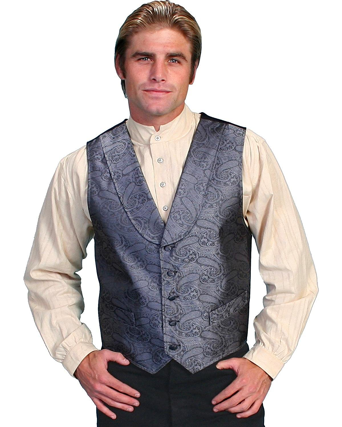 Scully Rangewear Mens Rangewear Paisley Print Round Collar Vest RangeWear by Scully 075383
