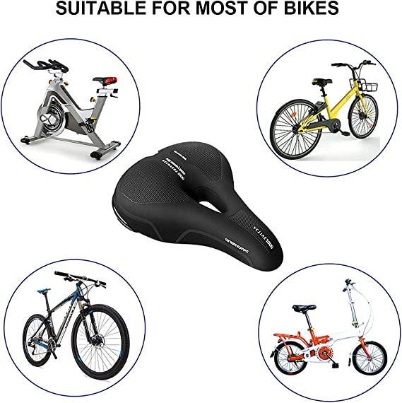 Free Install Tools// Rain Cover CYCLESPEED Comfort Bike Seat Bicycle Saddle Shock-Absorbing Waterproof Reflective High Safe Thickened Memory Foam Gel Cycling Cushion Padded for Mountain Road Mtb City Bikes