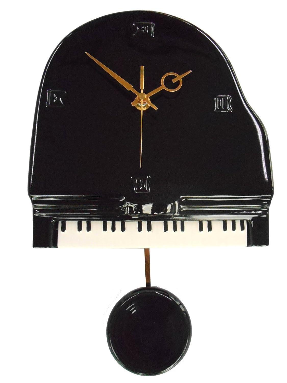 【 日本製/陶器 】黒ピアノ 時計 振り子付き B07DC1NTFY 黒 黒