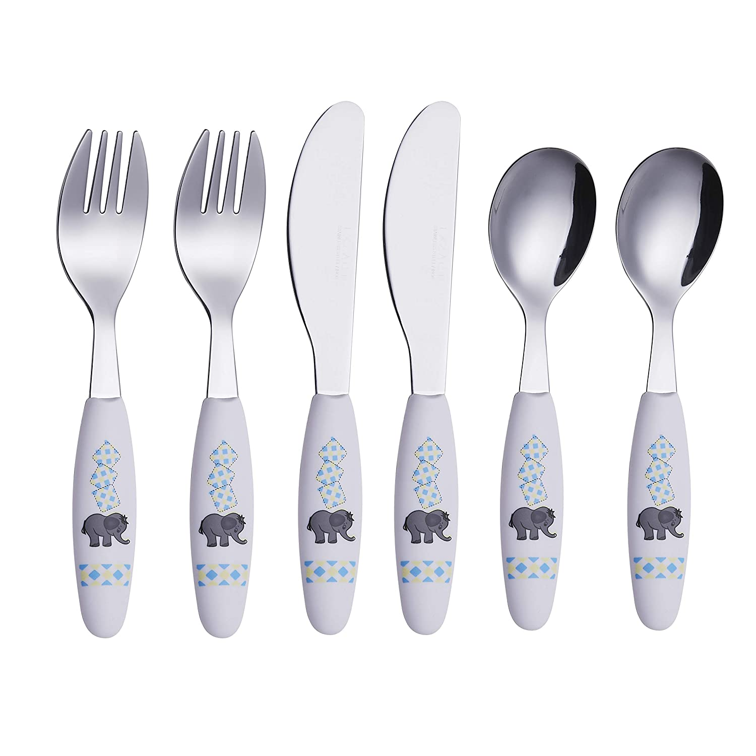 Exzact Kids Silverware Set 6 Pieces - Childrens Flatware Stainless Steel - 2 x Children Safe Forks, 2 x Safe Table Knife, 2 x Tablespoons, Toddler Utensils for Lunch Box BPA Free (Elephant - 6 PCS)