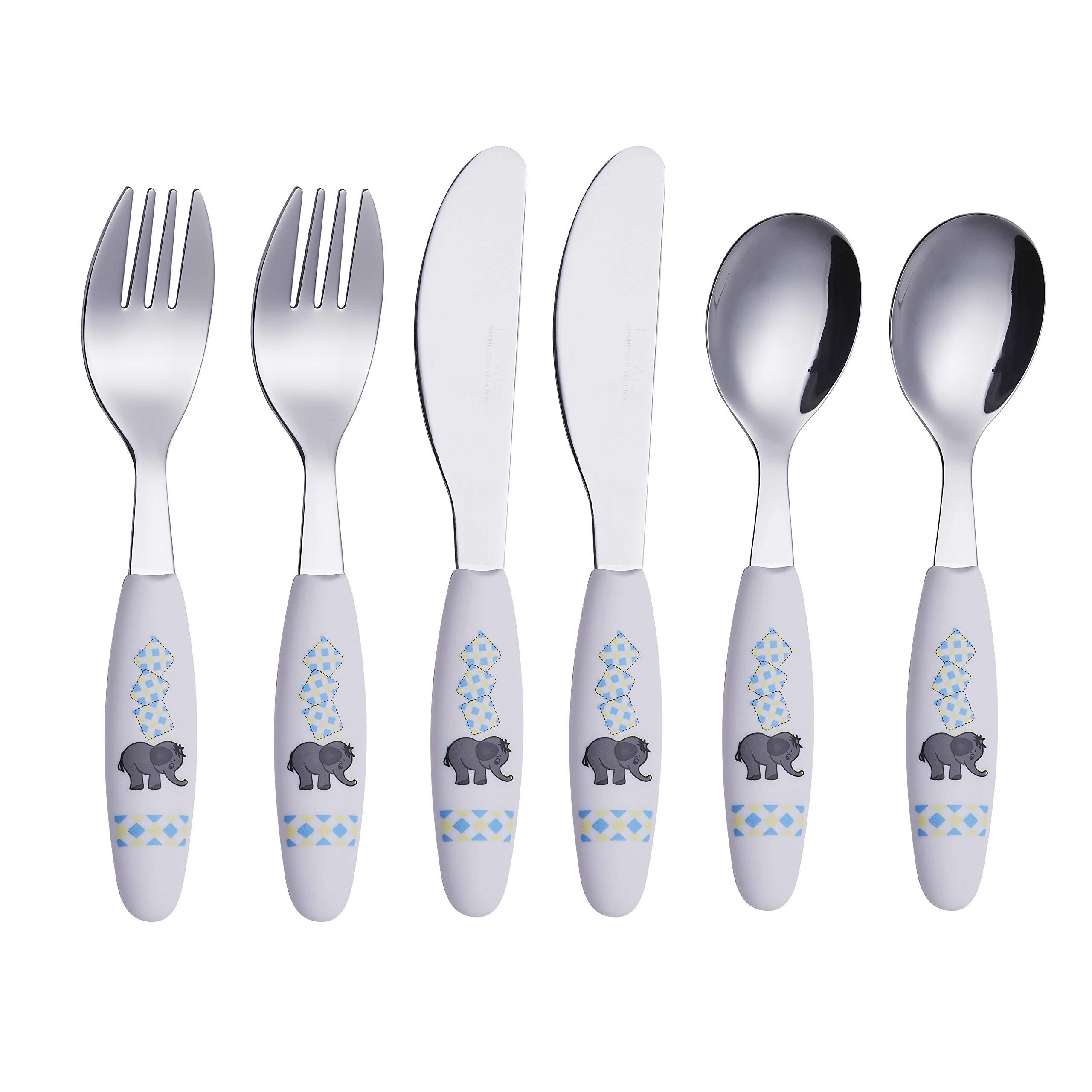 Exzact - 6 Pieza para niños cubertería - 2 x Cena Cuchillo, 2 x Cena Tenedor, 2 x Cena cuchar (Elefante x 6) product image