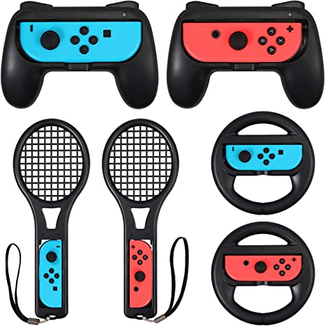 LiNKFOR Accesorios de Joy-Con 2PCS Grip para Mando 2PCS Raqueta de tenis 2 PCS Volantes Accesorios para Switch 3 en 1 Compatible con Switch Mario Kart Racing - Negro: Amazon.es: Videojuegos