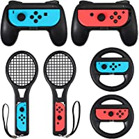LiNKFOR 3 in 1 Joy-Con Accessories Bundle | Tennis Racket for Mario Tennis Aces Game |Grips Handle for Switch Joy-Con…