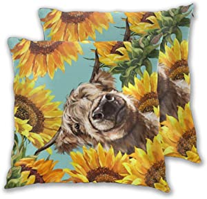 Nonebrand Highland Cow with Sunflowers Throw Pillow Covers,Modern Decorative Pillowcase Double Side Print Cushion Covers for Sofa Couch Bed 18x18 Inches,Set of 2