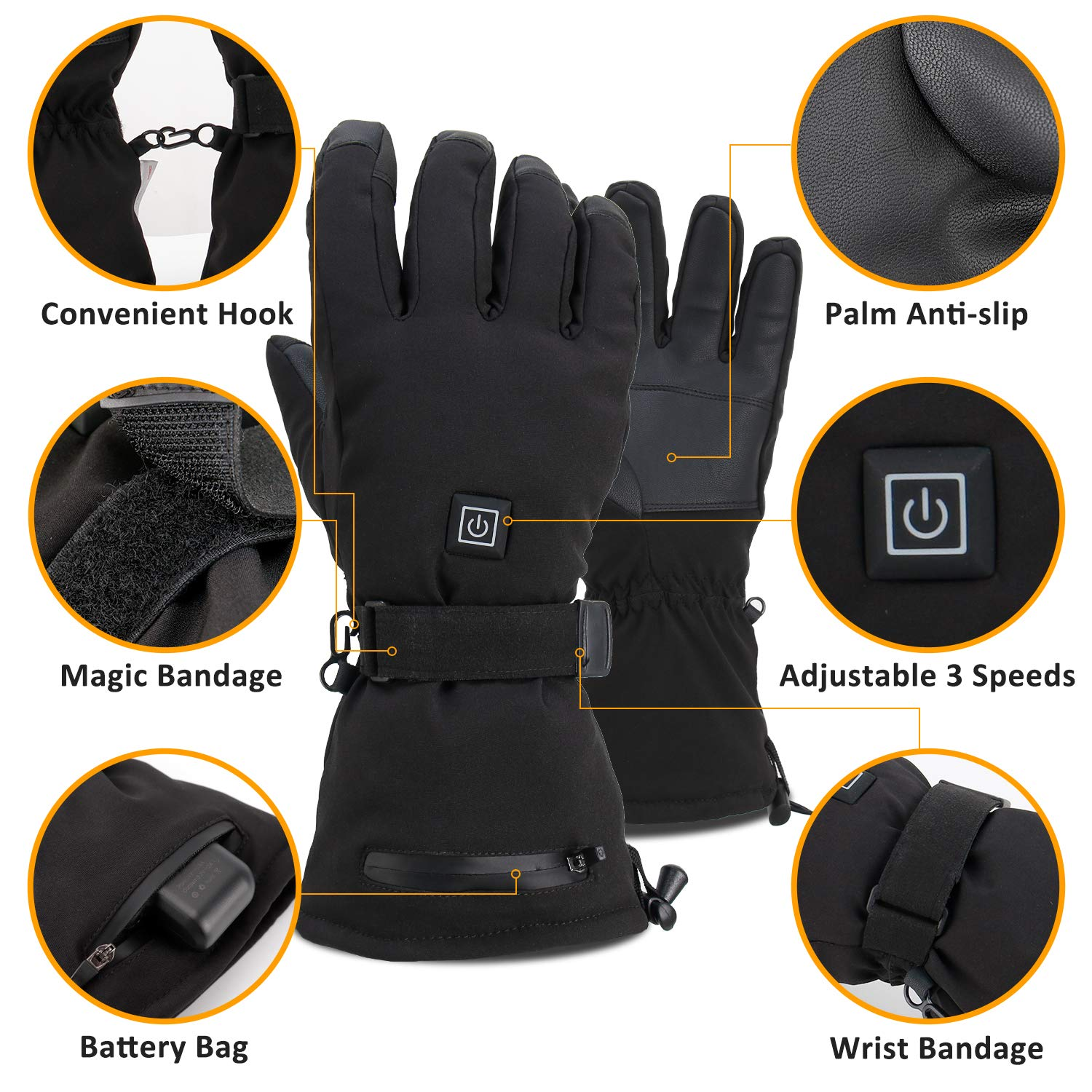 3.7V //3600MAH-Thermal Insulate Gloves for Climbing 3 Levels Temperature Control 2020 Latest Electric Heated Gloves with Rechargeable Battery Skiing Hiking Thermal Gloves Hand Warmer Gloves 3M