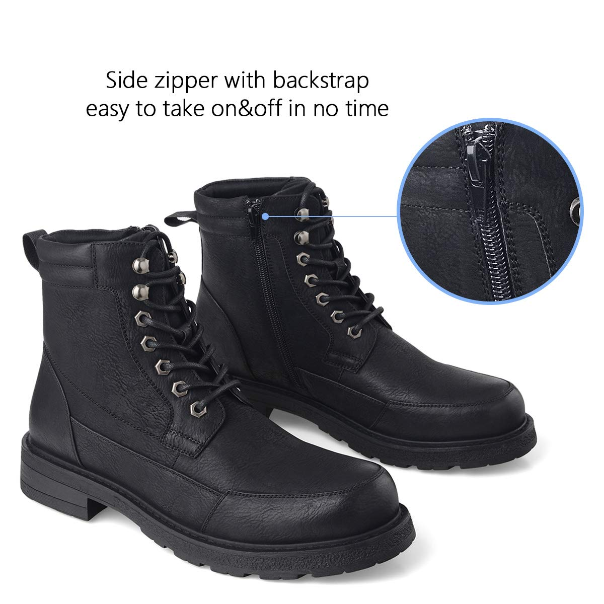 GM GOLAIMAN Mens Combat Boots Winter Work-Lace Up Zip Apron Toe Ankle High Boot for Hiking Motorcycle Riding Military Tactical