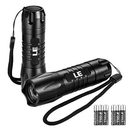 LE Linternas Bolsillo LED Potente 200lm, Alcance 150m, Resistente al agua IP65, Linterna de Mano, Pack de 2, Pilas incluidas