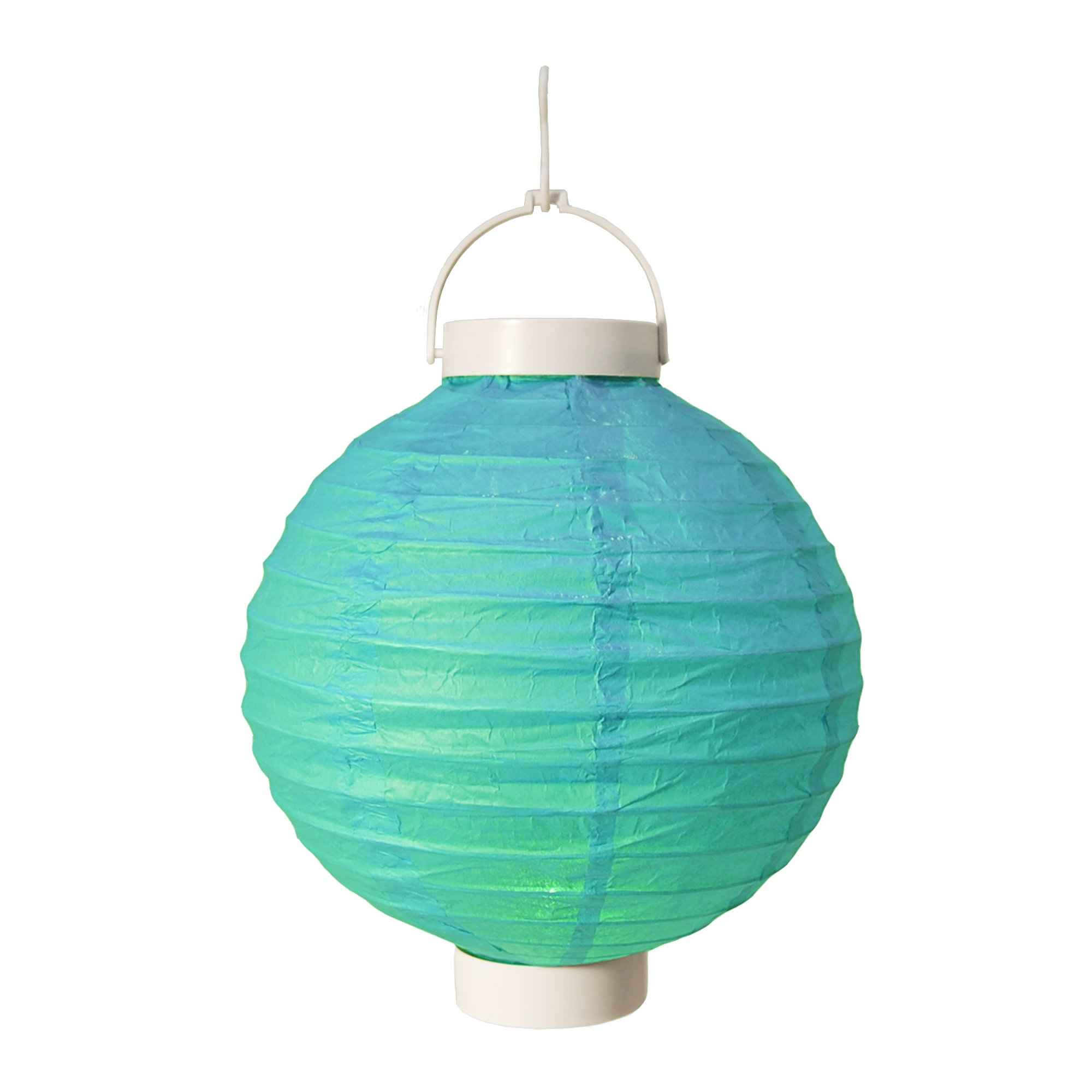 LumaBase 79503 3 Count Battery Operated Paper Lanterns, 8'', Turquoise