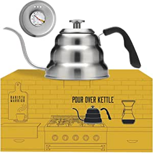 Pour Over Coffee Kettle with Thermometer for Exact Temperature - Gooseneck Pour Over Kettle for Drip Coffee and Tea (1.0 Liter | 34 fl oz) - Great as a Gift