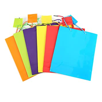 Fun Central BC837 12 Pcs Neon Paper Gift Bag 6 Color Assorted