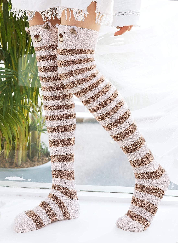 Dress Sock Cute Cartoon Panda Face Sketch Long Knee Hose Soccer Hold-Up Stocking