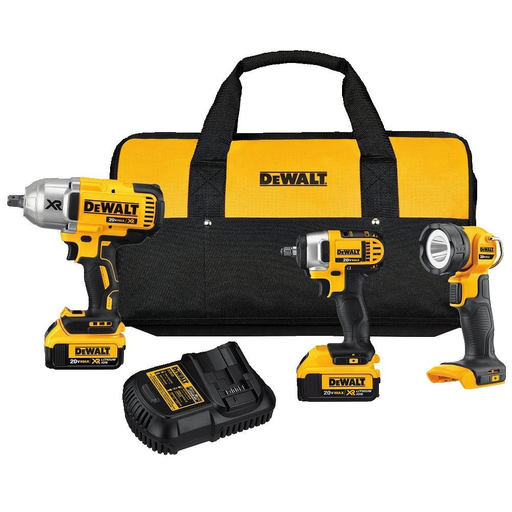 DEWALT DCK398M2 20V MAX Lithium Ion 3-Tool Combo Kit with 2 Batteries and Charger