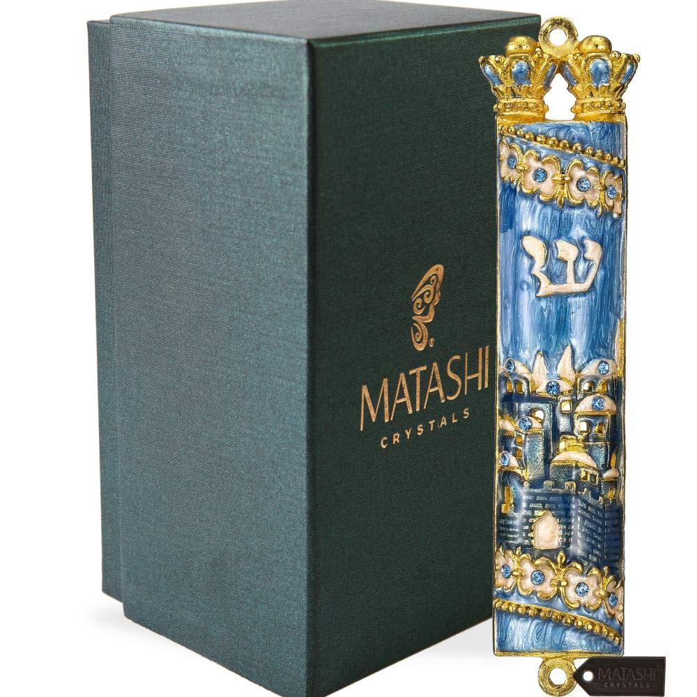 Matashi Hand Painted Mezuzah Gold Plated and Crystals (Blue Enamel Mezuzah Jerusalem City)