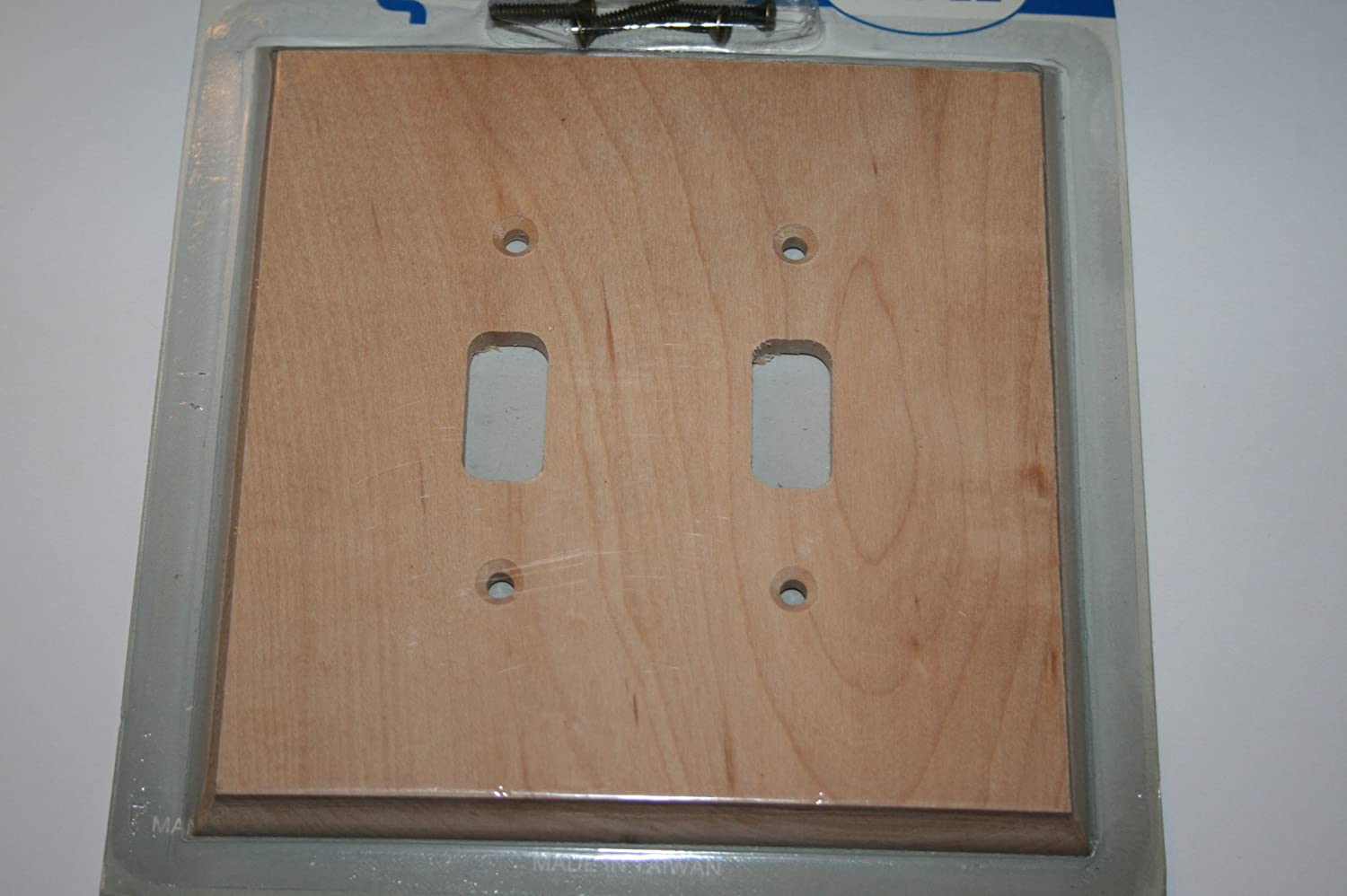 unfinished maple wood double toggle switch wall plate beveled edge construction remodel