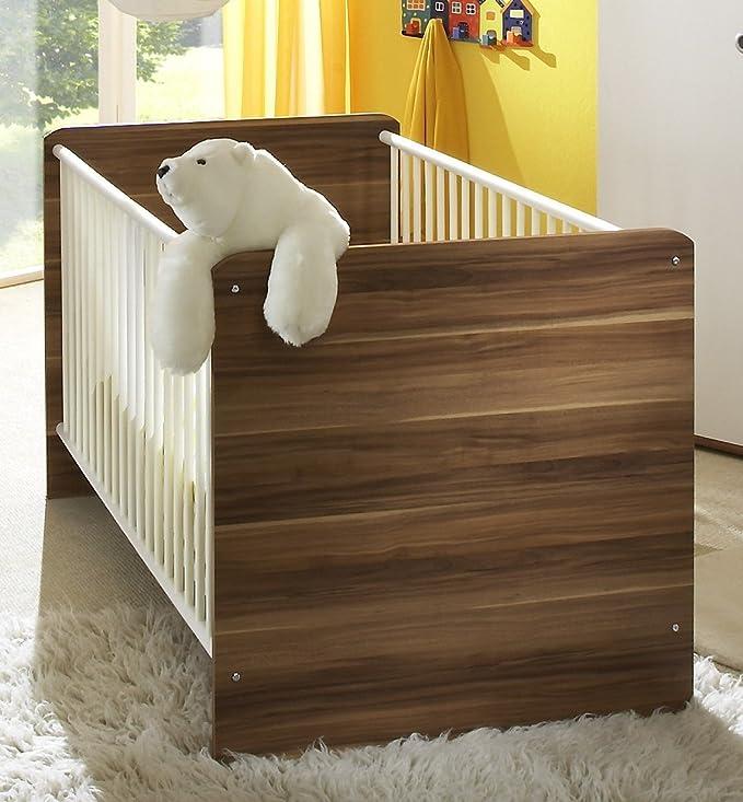 Habitación del bebé decorativo de juego de WIKI 2 en madera de nogal/blanco - juego completo muebles para bebés con amplia zona armario (1 puerta con ...