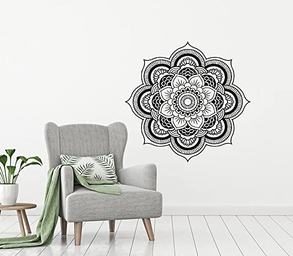 Amazon wall decal mandala lotus flower vinyl sticker decals lotus flower vinyl sticker decals mehndi decor yoga studio decal mightylinksfo