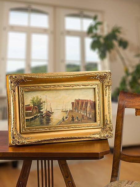 Ölgemälde Gemälde auf Porzellan Schiff Bild Holland Niederlande Antik-Stil 46cm